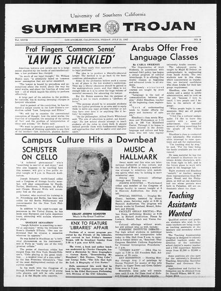 Summer Trojan, Vol. 18, No. 9, July 21, 1967