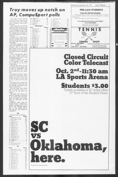 Daily Trojan, Vol. 64, No. 3, September 22, 1971