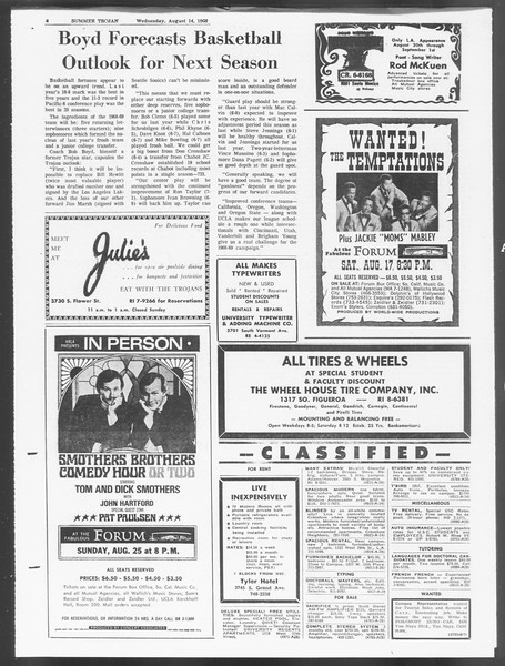 Summer Trojan, Vol. 19, No. 14, August 14, 1968