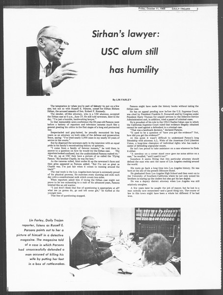 Daily Trojan, Vol. 60, No. 18, October 11, 1968