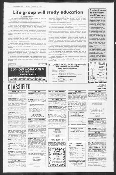 Daily Trojan, Vol. 64, No. 23, October 22, 1971