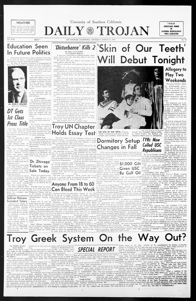 Daily Trojan, Vol. 57, No. 89, March 17, 1966