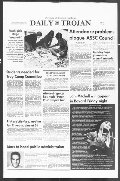 Daily Trojan, Vol. 60, No. 12, October 02, 1968