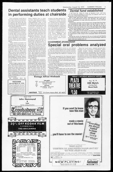 Summer Trojan, Vol. 65, No. 15, August 16, 1972