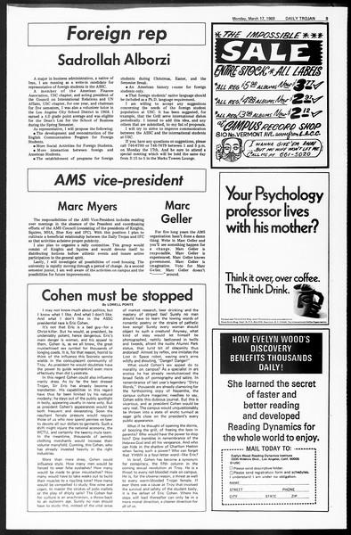 Daily Trojan, Vol. 60, No. 91, March 17, 1969