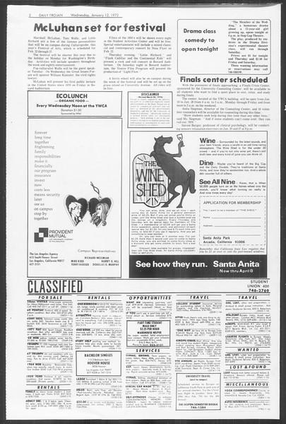 Daily Trojan, Vol. 64, No. 62, January 12, 1972