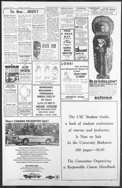 Daily Trojan, Vol. 58, No. 107-A, April 19, 1967