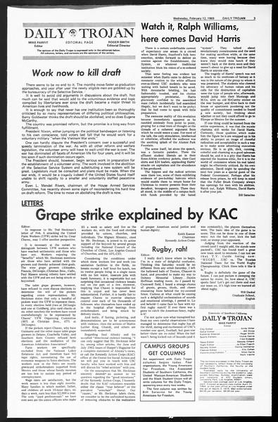 Daily Trojan, Vol. 60, No. 69, February 12, 1969