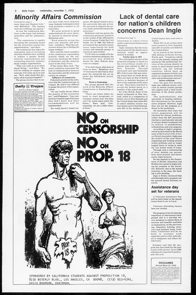 Daily Trojan, Vol. 65, No. 30, November 01, 1972