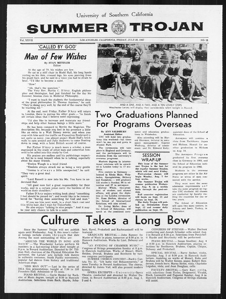Summer Trojan, Vol. 18, No. 11, July 28, 1967