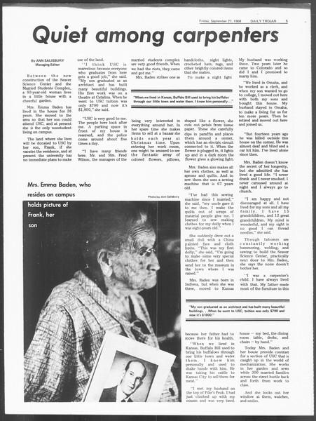 Daily Trojan, Vol. 60, No. 10, September 27, 1968