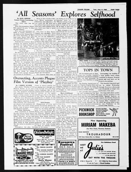 Summer Trojan, Vol. 13, No. 11, August 06, 1963