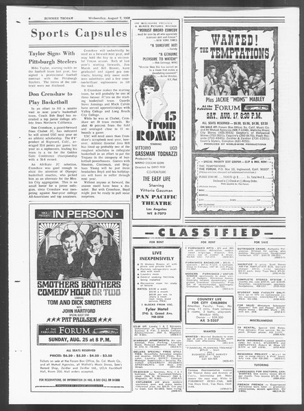 Summer Trojan, Vol. 19, No. 13, August 07, 1968