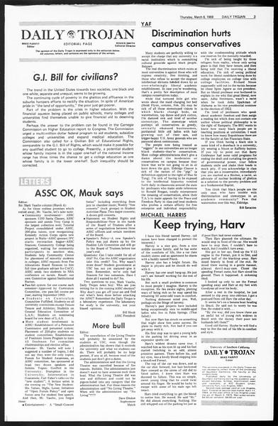Daily Trojan, Vol. 60, No. 84, March 06, 1969