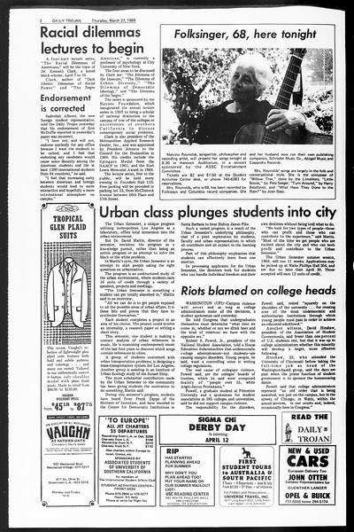 Daily Trojan, Vol. 60, No. 99, March 27, 1969