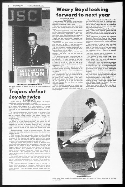 Daily Trojan, Vol. 62, No. 89, March 16, 1971
