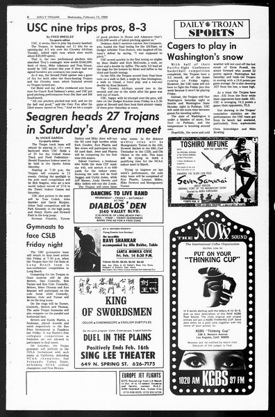 Daily Trojan, Vol. 60, No. 69, February 12, 1969