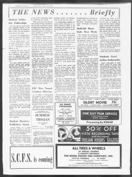 Summer Trojan, Vol. 19, No. 16, August 28, 1968