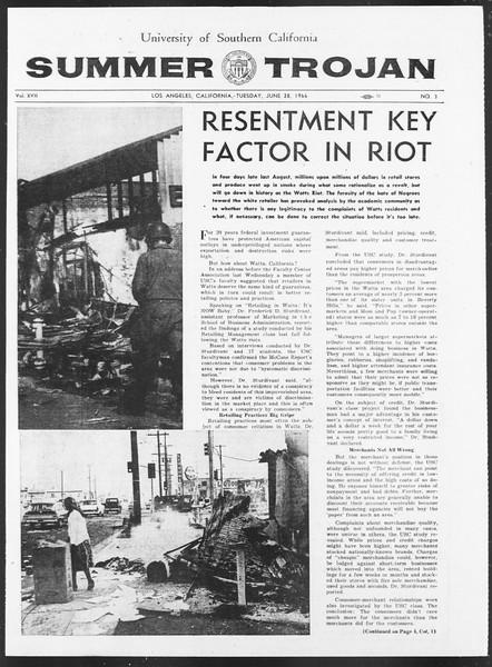 Summer Trojan, Vol. 17, No. 3, June 28, 1966