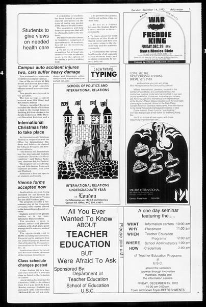 Daily Trojan, Vol. 65, No. 57, December 14, 1972