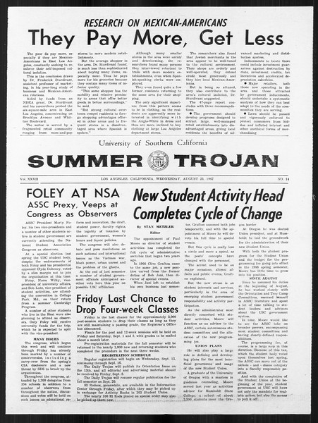 Summer Trojan, Vol. 18, No. 14, August 23, 1967