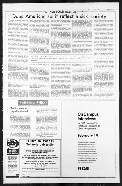 Daily Trojan, Vol. 59, No. 69, February 13, 1968