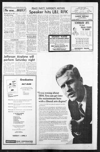 Daily Trojan, Vol. 59, No. 98, March 26, 1968