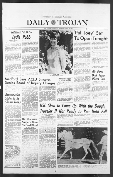 Daily Trojan, Vol. 58, No. 108, April 20, 1967