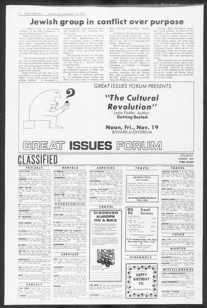 Daily Trojan, Vol. 64, No. 40, November 17, 1971