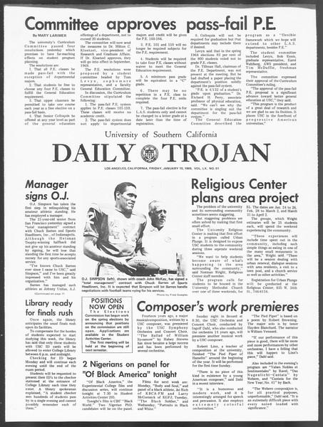 Daily Trojan, Vol. 60, No. 61, January 10, 1969