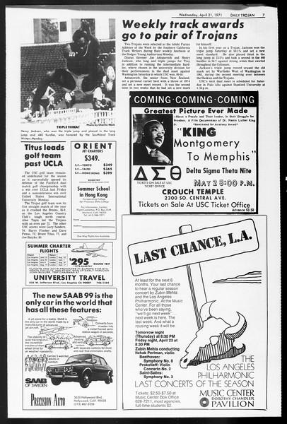 Daily Trojan, Vol. 62, No. 107, April 21, 1971