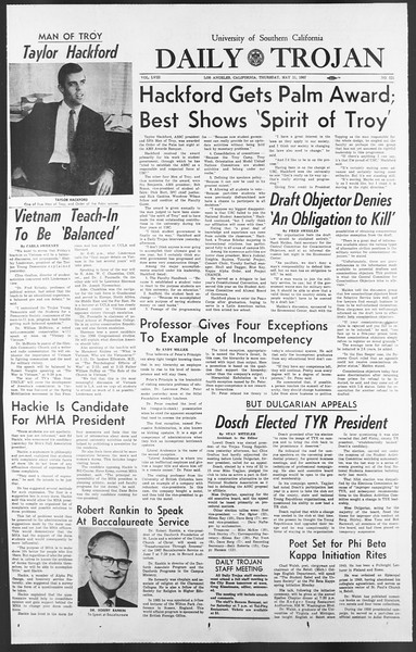 Daily Trojan, Vol. 58, No. 121, May 11, 1967