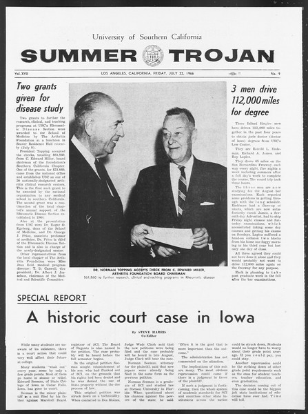 Summer Trojan, Vol. 17, No. 9, July 22, 1966