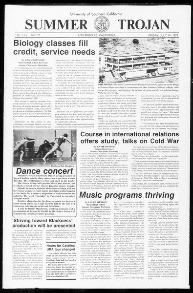 Summer Trojan, Vol. 65, No. 10, July 14, 1972