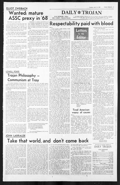 Daily Trojan, Vol. 59, No. 105, April 16, 1968