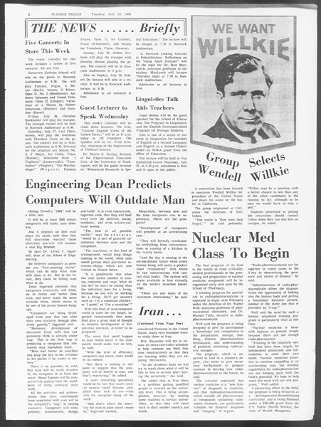Summer Trojan, Vol. 19, No. 10, July 23, 1968
