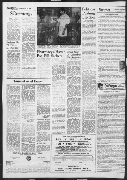 Daily Trojan, Vol. 46, No. 17, October 11, 1954