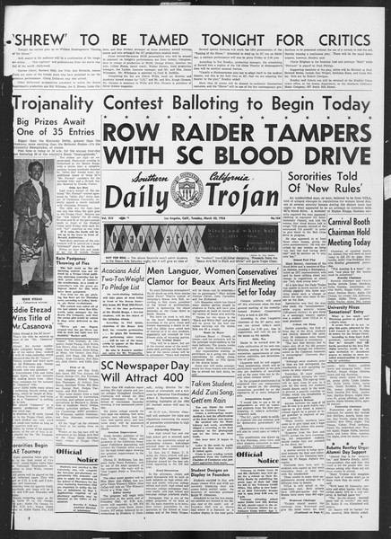 Daily Trojan, Vol. 45, No. 104, March 30, 1954