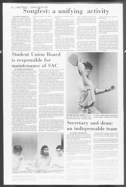 Daily Trojan, Vol. 64, No. 111, April 25, 1972