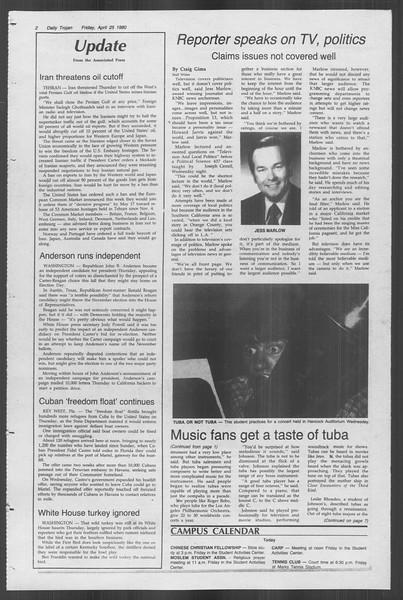 Daily Trojan, Vol. 88, No. 52, April 25, 1980