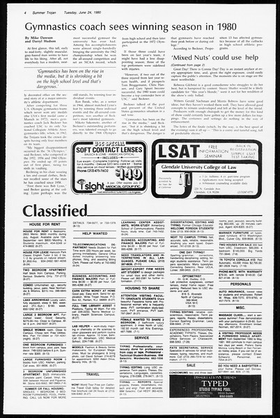 Summer Trojan, Vol. 89, No. 4, June 24, 1980