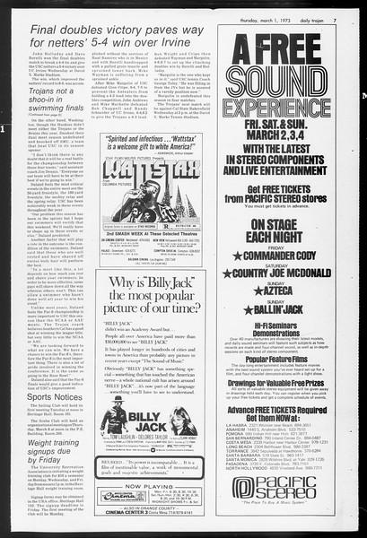 Daily Trojan, Vol. 65, No. 82, March 01, 1973