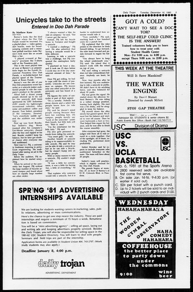 Daily Trojan, Vol. 89, No. 60, December 16, 1980