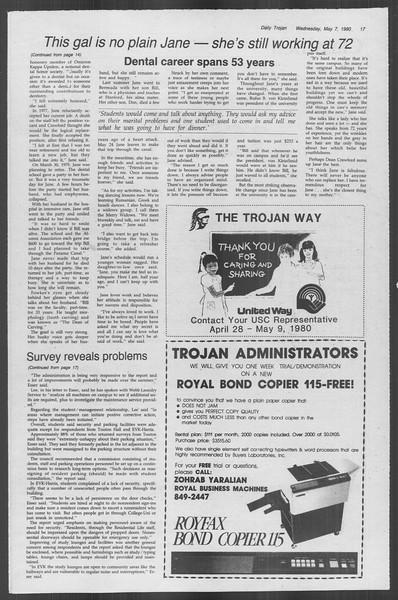 Daily Trojan, Vol. 88, No. 60, May 07, 1980