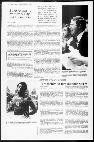 Daily Trojan, Vol. 65, No. 92, March 16, 1973