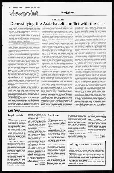 Summer Trojan, Vol. 89, No. 12, July 25, 1980