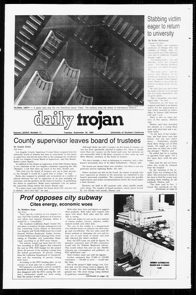 Daily Trojan, Vol. 89, No. 12, September 30, 1980