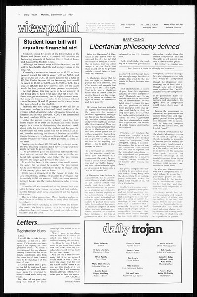 Daily Trojan, Vol. 89, No. 6, September 22, 1980