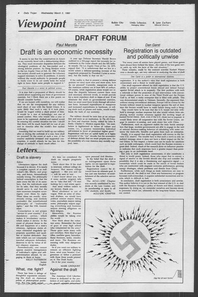 Daily Trojan, Vol. 88, No. 21, March 05, 1980