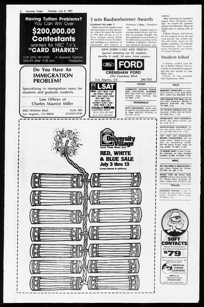 Summer Trojan, Vol. 89, No. 7, July 08, 1980